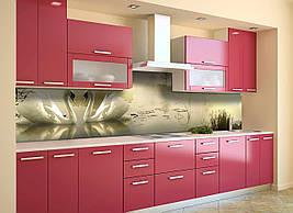 Виниловый кухонный фартук Лебеди скинали для кухни наклейка ПВХ птицы озеро рассвет Бежевый 600*2500 мм