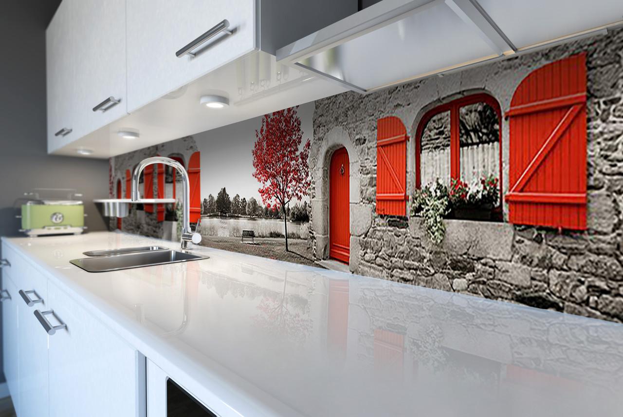 Виниловый кухонный фартук Красные Акценты (скинали для кухни наклейка ПВХ) Прованс Серый 600*2500 мм