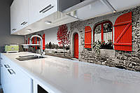 Виниловый кухонный фартук Красные Акценты (скинали для кухни наклейка ПВХ) Прованс Серый 600*2500 мм, фото 1