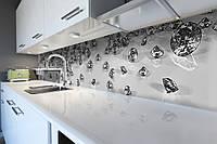 Виниловый кухонный фартук Алмазы (скинали для кухни наклейка ПВХ) бриллианты драгоценные камни Серый 600*2500 мм