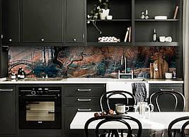 Виниловый кухонный фартук Сказочный Мост скинали для кухни наклейка ПВХ лес рисунок Природа Коричневый
