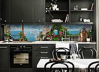 Виниловый кухонный фартук Замок на утесе (скинали для кухни наклейка ПВХ) скалы Море Голубой 600*2500 мм, фото 1
