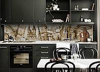 Виниловый кухонный фартук Европа (скинали для кухни наклейка ПВХ) старая кинопленка ретро винтаж Бежевый 600*2500 мм