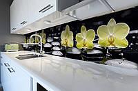 Виниловый кухонный фартук Лимонные Орхидеи (скинали для кухни наклейка ПВХ) желтые Цветы камни Черные 600*2500 мм