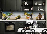 Виниловый кухонный фартук Коктейль (скинали для кухни наклейка ПВХ) пляжный отдых лаймы цитрусы Голубой
