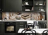 Виниловый кухонный фартук Шкатулка (скинали для кухни наклейка ПВХ) винтаж коллаж украшения Бежевый 600*2500 мм, фото 1
