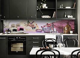 Вініловий кухонний фартух Рожеві Сакури скіналі для кухні наклейка ПВХ чай Японія Схід Рожевий 600*2500 мм