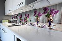 Виниловый кухонный фартук Букеты Сирени (скинали для кухни наклейка ПВХ) мороженое натюрморт Фиолетовый 600*2500 мм, фото 1