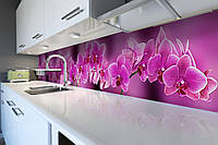 Виниловый кухонный фартук Ветка розовых Орхидей (скинали для кухни наклейка ПВХ) цветы орхидеи 600*2500 мм