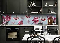 Виниловый кухонный фартук виниловый Морозная Калина (скинали для кухни наклейка ПВХ) иней ягоды голубой 600*2500 мм, фото 1