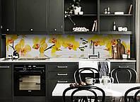 Виниловый кухонный фартук Желтые Орхидеи (скинали для кухни наклейка ПВХ) на дощатом фоне доски цветы Желтый 600*2500 мм