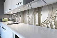 Виниловый кухонный фартук Античный зал (скинали для кухни наклейка ПВХ) статуя колонны серый 600*2500 мм, фото 1