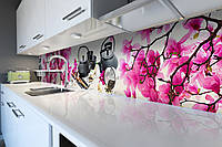 Виниловый кухонный фартук Чайна церемония(скинали для кухни наклейка ПВХ) виниловый магнолии розовый 600*2500