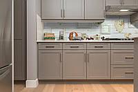 Виниловый кухонный фартук Лофт (скинали для кухни наклейка ПВХ) белые доски деревянный фон Серый 600*2500 мм, фото 1