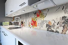 Вініловий кухонний фартух Східний Гранат скіналі для кухні наклейка ПВХ ієрогліфи Азія Журавель Сірий