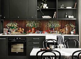 Виниловый кухонный фартук Полевые Ромашки скинали для кухни наклейка ПВХ букет доски натюрморт Коричневый