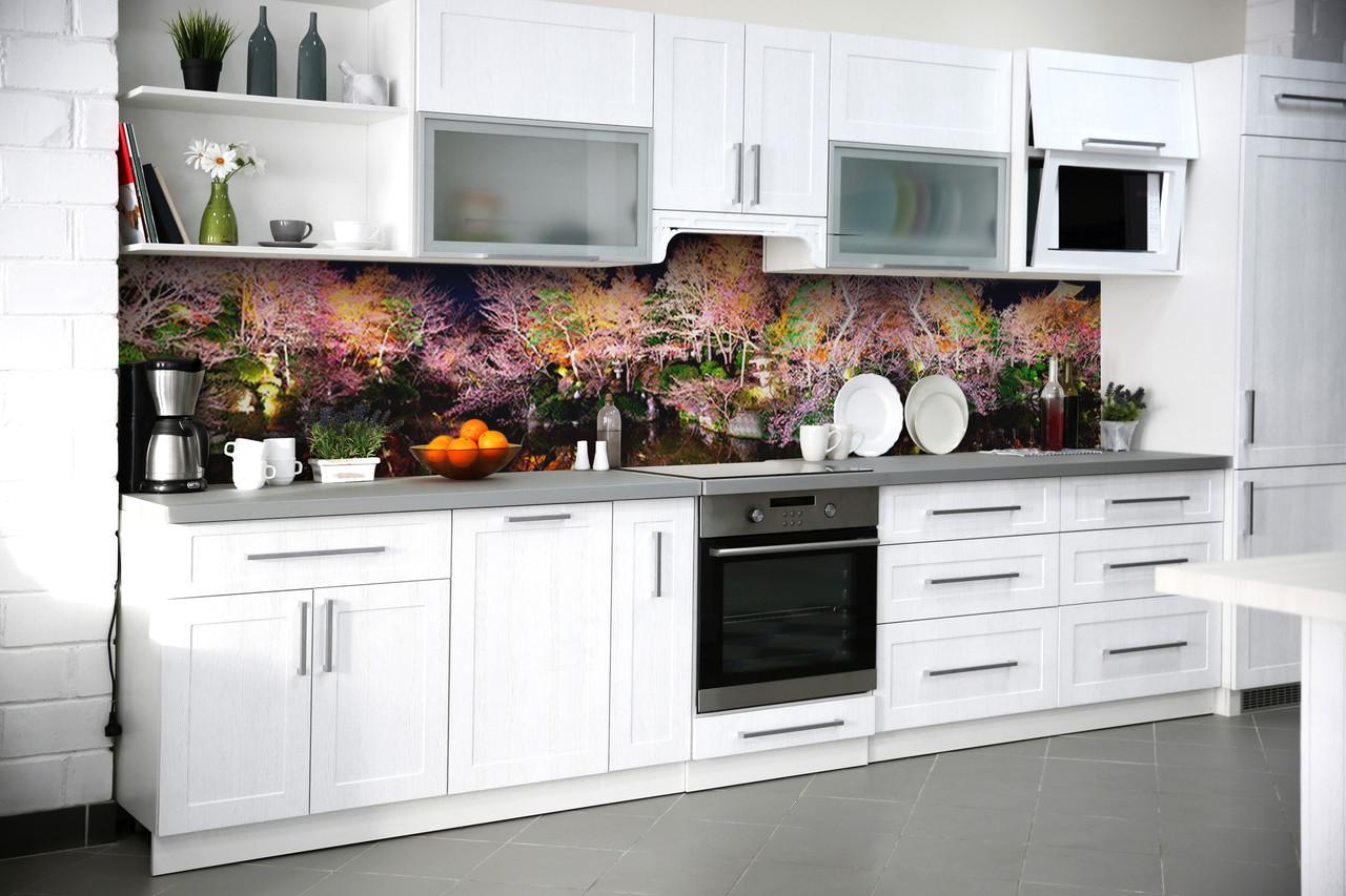 Виниловый кухонный фартук Радужный Лес (скинали для кухни наклейка ПВХ) деревья Природа Розовый 600*2500 мм