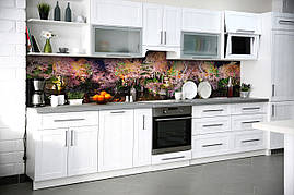 Виниловый кухонный фартук Радужный Лес скинали для кухни наклейка ПВХ деревья Природа Розовый 600*2500 мм