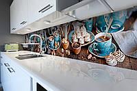 Виниловый кухонный фартук самоклеющийся Зефир Голубые чашки (скинали для кухни наклейка ПВХ) кофе сладости 600*2500 мм, фото 1