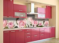 Виниловый кухонный фартук самоклеющийся Бутоны Розовые Розы (скинали для кухни наклейка ПВХ) цветы 600*2500 мм, фото 1