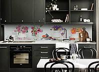 Виниловый кухонный фартук самоклеющийся Цветочные букеты (скинали для кухни наклейка ПВХ) белый 600*2500 мм