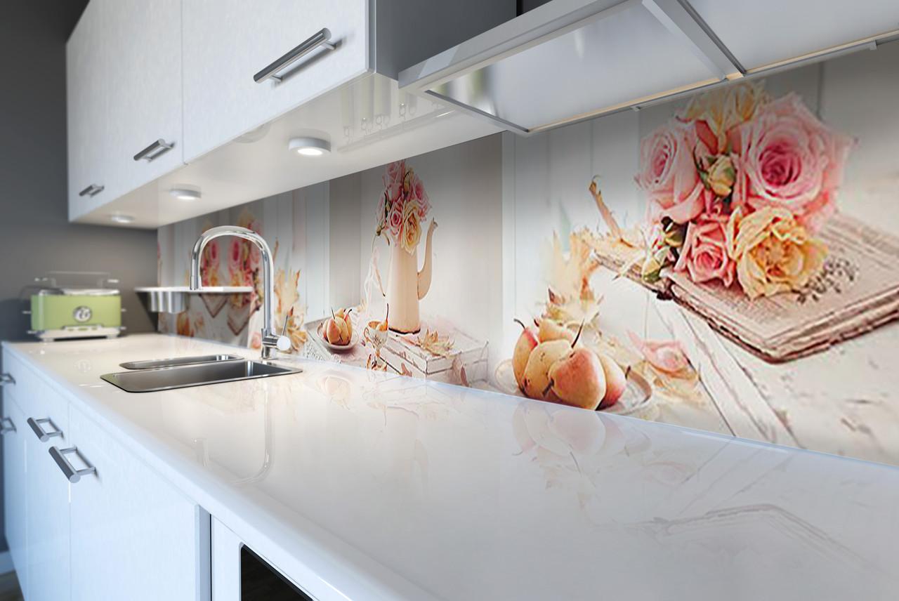 Виниловый кухонный фартук Осенние Груши (скинали для кухни наклейка ПВХ) розы доски натюрморт Розовый 600*2500 мм