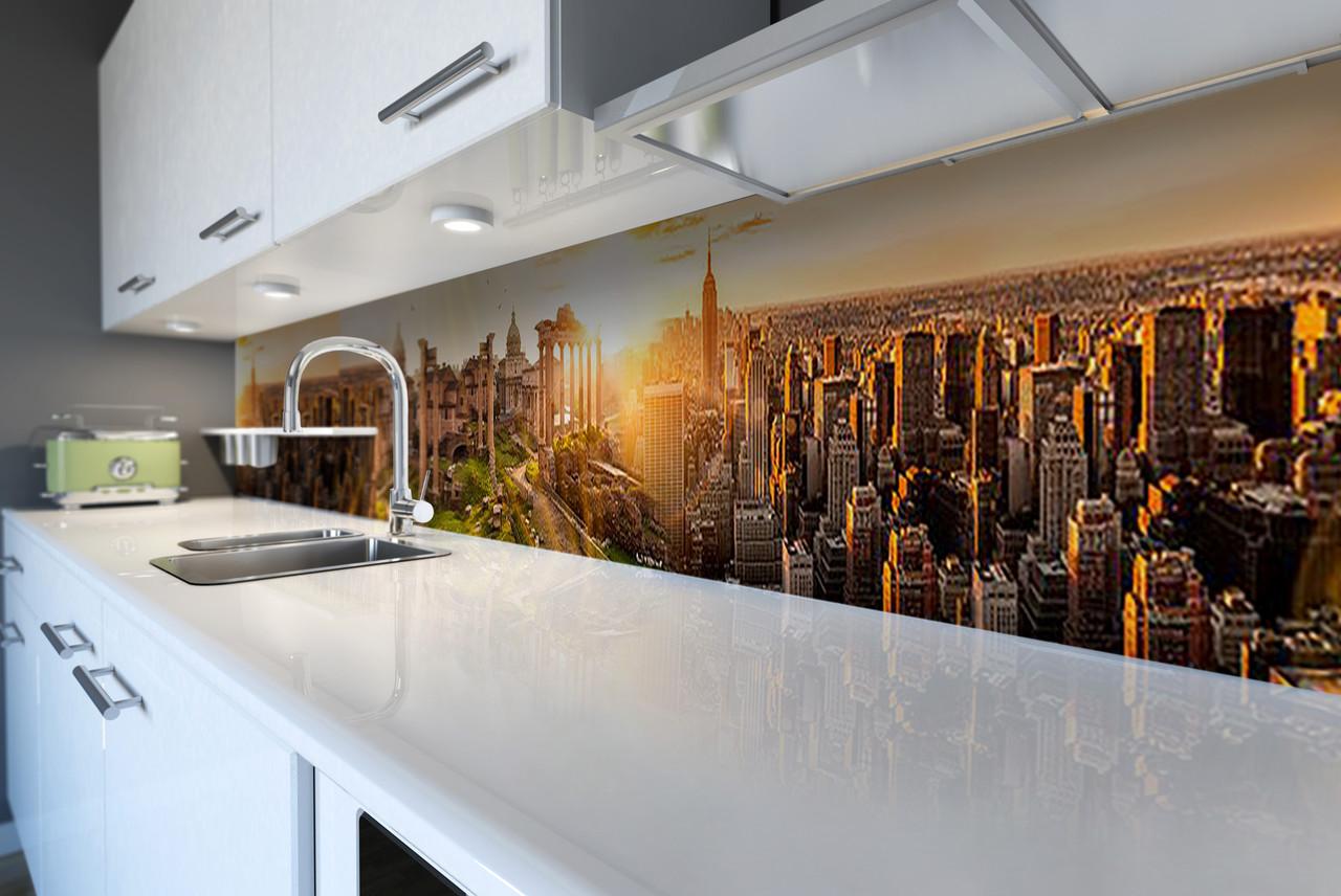 Виниловый кухонный фартук Рассвет над городом (скинали наклейка ПВХ) небоскребы солнце город Коричневый 600*2500 мм