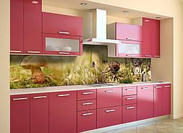 Виниловый кухонный фартук Грибы скинали для кухни наклейка ПВХ мох сова Природа Зеленый 600*2500 мм