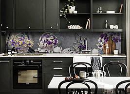 Виниловый кухонный фартук Букет Хризантем скинали для кухни наклейка ПВХ ромашки корзинка Цветы Серый 600*2500