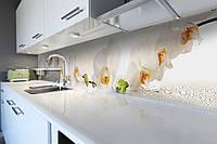Виниловый кухонный фартук Белая орхидея 03 (скинали для кухни наклейка ПВХ) цветы роса капли Бежевый 600*2500 мм