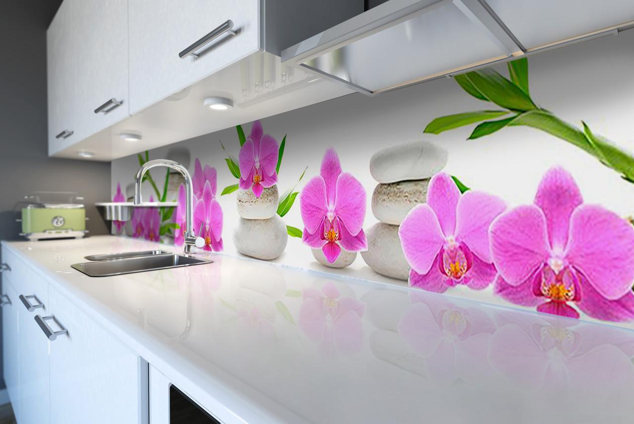 Виниловый кухонный фартук Розовые Орхидеи и Бамбук (скинали для кухни наклейка ПВХ) цветы камни Белый 600*2500 мм