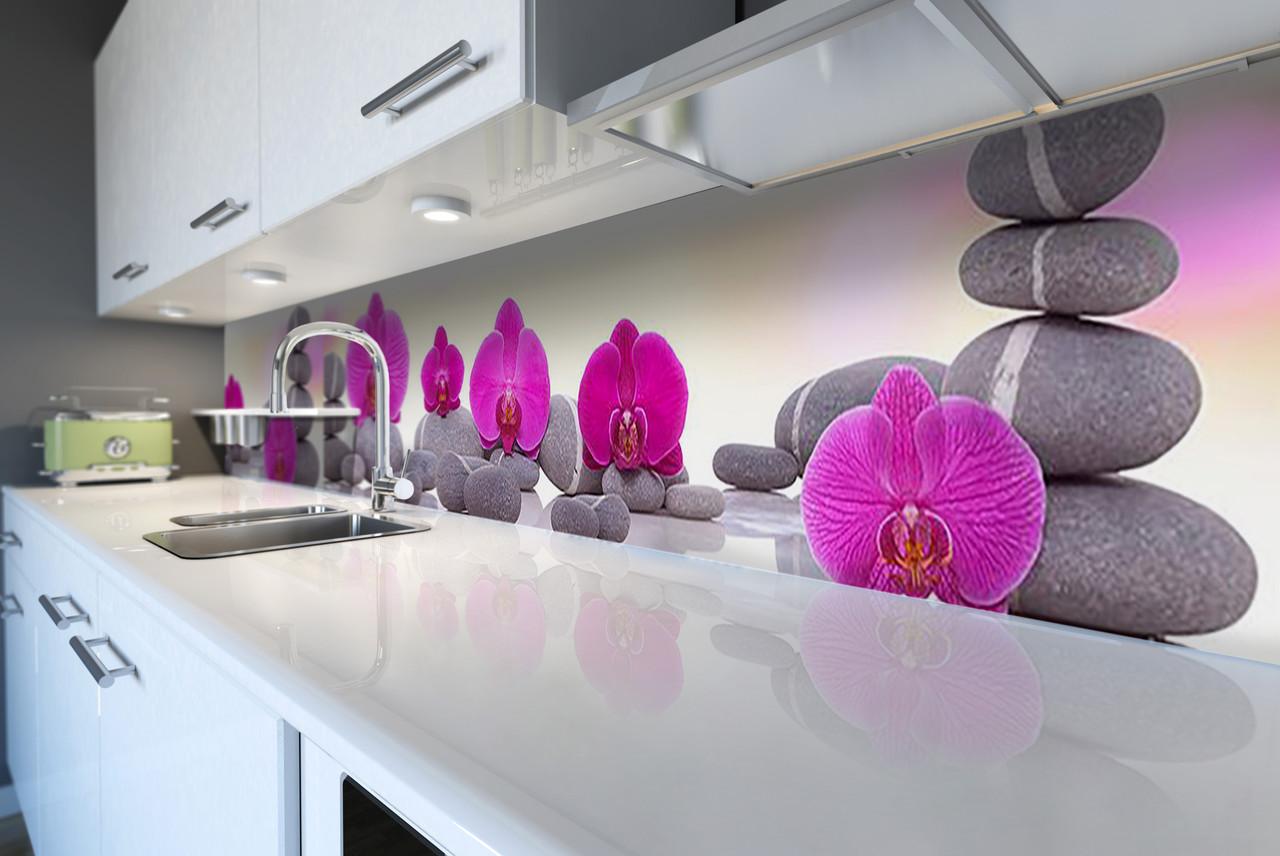 Виниловый кухонный фартук Пирамида из Камней (скинали для кухни наклейка ПВХ) орхидеи цветы Серый 600*2500 мм