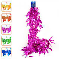 """Дощик - мішура """"Листочки"""" J01694 ПВХ, 5см*2м, різні кольори, новорічні прикраси, дощик, мішура, новорічний дощик"""