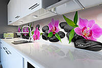 Виниловый кухонный фартук Яркие орхидеи на гладких камнях (скинали наклейка ПВХ) цветы камни Розовый 600*2500 мм, фото 1