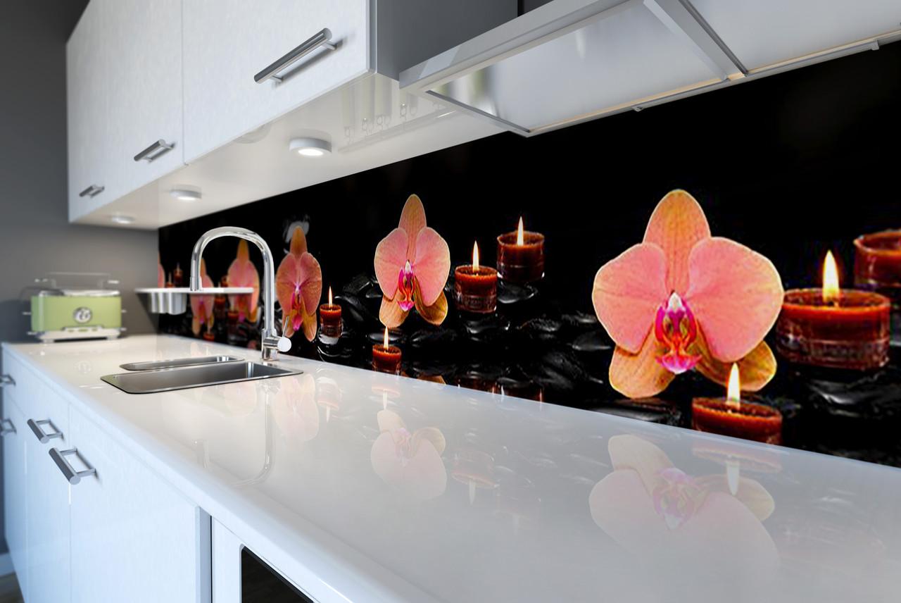 Виниловый кухонный фартук Орхидеи и Свечи (скинали для кухни наклейка ПВХ) оранжевые цветы Черный 600*2500 мм