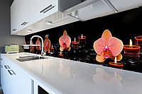 Виниловый кухонный фартук Орхидеи и Свечи (скинали для кухни наклейка ПВХ) оранжевые цветы Черный 600*2500 мм, фото 1