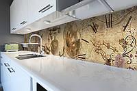 Виниловый кухонный фартук Винтажные Узоры (скинали для кухни наклейка ПВХ) под старину ретро Бежевый 600*2500 мм
