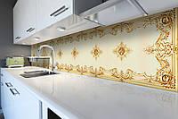 Виниловый кухонный фартук Турецкий шарм (скинали для кухни наклейка ПВХ) орнаменты узоры вензеля Бежевый 600*2500 мм