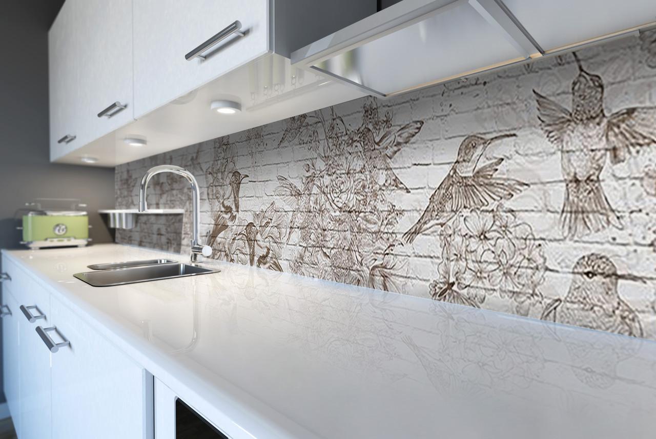 Виниловый кухонный фартук Колибри (скинали для кухни наклейка ПВХ) птицы под кирпич кирпичная кладка Серый 600*2500 мм