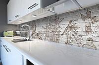 Виниловый кухонный фартук Колибри (скинали для кухни наклейка ПВХ) птицы под кирпич кирпичная кладка Серый 600*2500 мм, фото 1