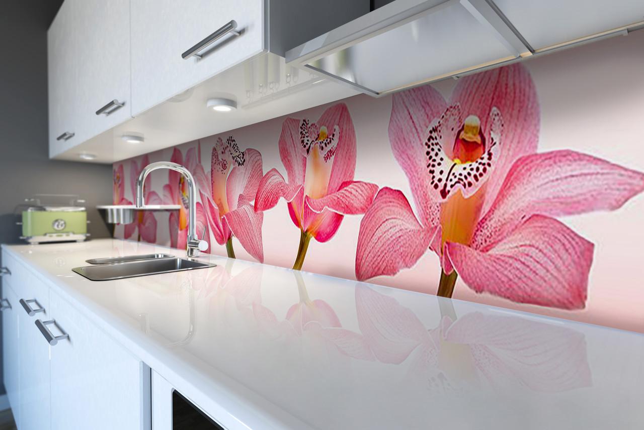 Виниловый кухонный фартук Королевские Орхидеи (скинали для кухни наклейка ПВХ) розовые цветы крупные 600*2500 мм