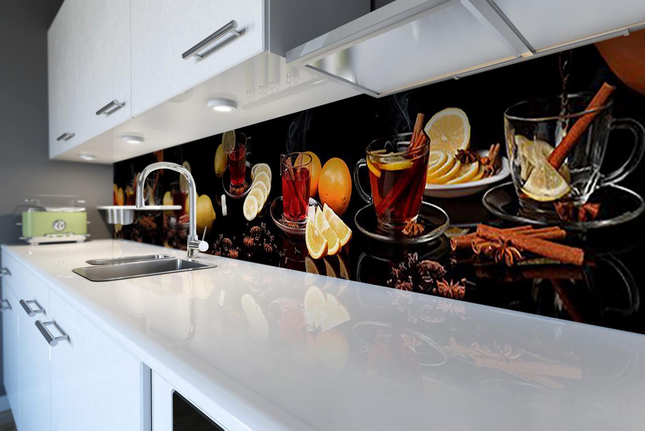 Виниловый кухонный фартук Чай со Специями (скинали для кухни наклейка ПВХ) корица цитрусы чашки Коричневый 600*2500 мм
