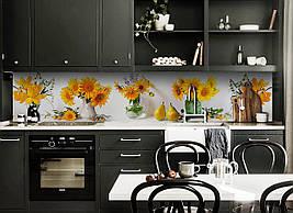 Виниловый кухонный фартук Желтые Подсолнухи скинали для кухни наклейка ПВХ крокусы груши букеты Белый 600*2500