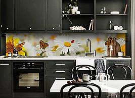 Виниловый кухонный фартук Ромашки и Бабочки скинали для кухни наклейка ПВХ цветы мотыльки Желтый 600*2500 мм