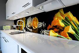 Виниловый кухонный фартук Желтые Каллы скинали для кухни наклейка ПВХ цветы жемчуг Черный 600*2500 мм
