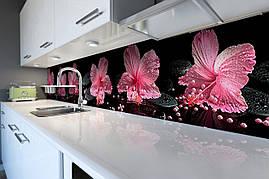 Вініловий кухонний фартух вініловий Рожевий гібіскус Перли скіналі для кухні наклейка ПВХ квіти 600*2500 мм
