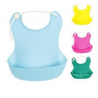 Слюнявчик детский R83704, с карманом, размер 24*20 см, цвета ассорти, силикон, слюнявчики детские, слюнявчики для детей