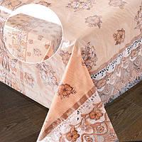 "Клеенка в рулоне Stenson ""LACE"" размер 1,32х22м, бежеввая ажурная, клеенка на стол, рулон клеенки, кленка для стола"