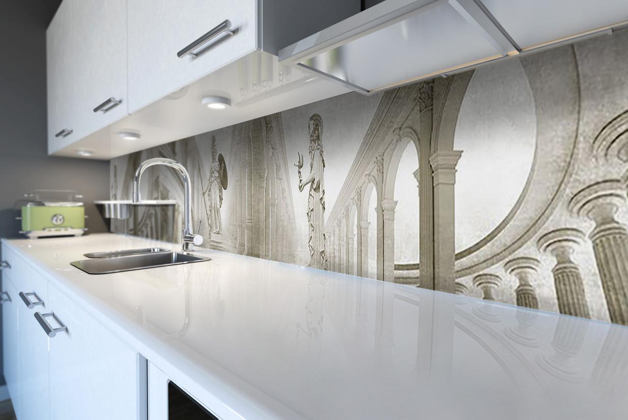 Виниловый кухонный фартук Античный зал (скинали для кухни наклейка ПВХ) статуя колонны серый 600*2500 мм