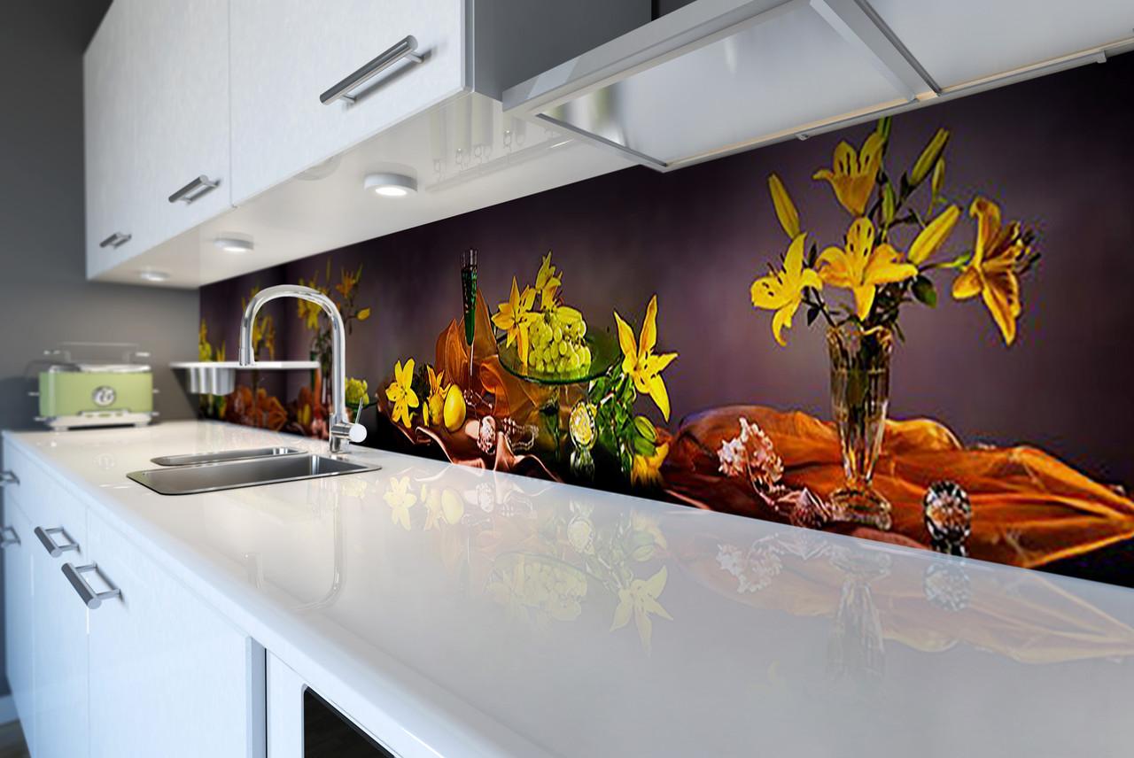 Виниловый кухонный фартук самоклеющийся Натюрморт Желтые Лилии (скинали для кухни наклейка ПВХ) коричневый 600*2500 мм